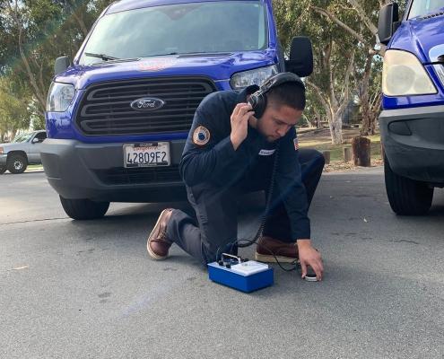 Plumber Ezekiel Bustos Showing of His Slab Leak Detection Skills
