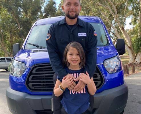 Plumber Ezekiel Bustos and His Daughter